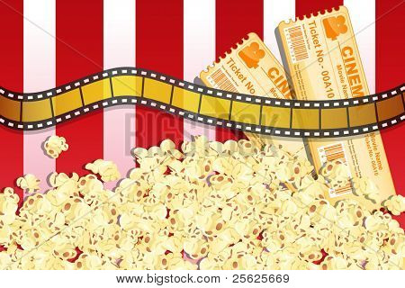 illustration of movie reel ticket and pop corn with movie ticket on striped background