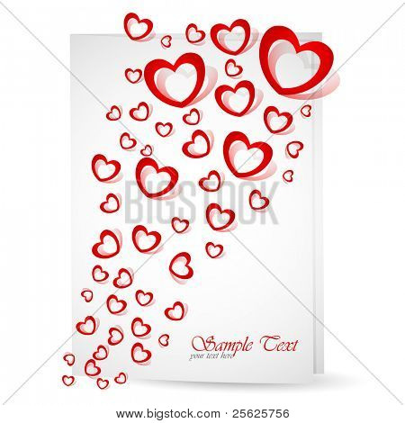 illustration of heart flying out of love card