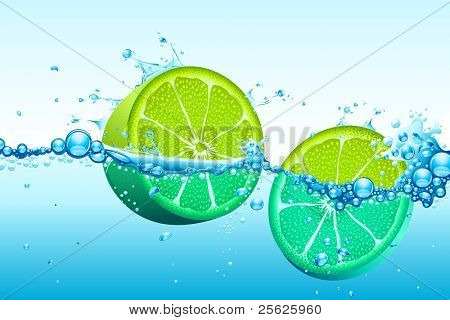 illustration of slices of lemon in splash of water