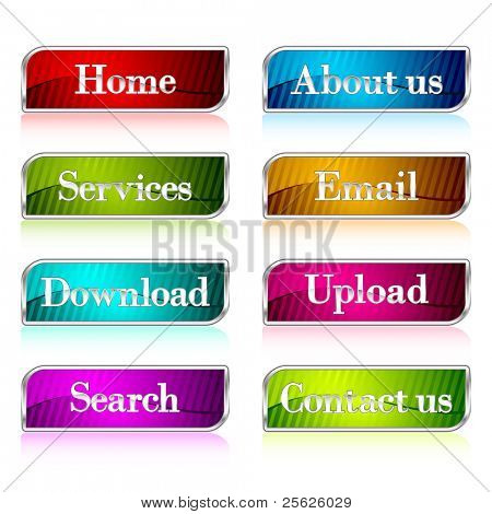 illustration of set of colorful button for web on isolated background