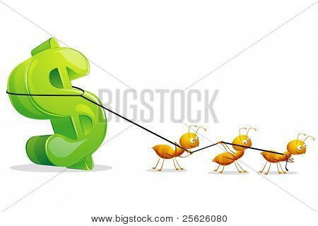 illustration of group of ants dragging dollar symbol