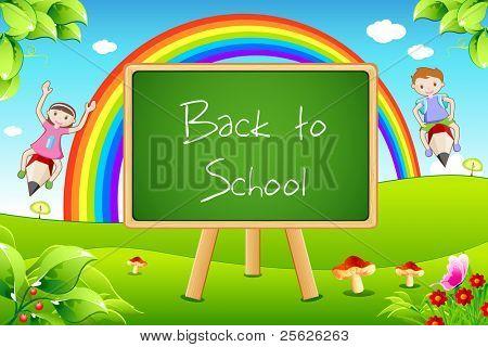 illustration of back to school on black board with flying kids in landscape background