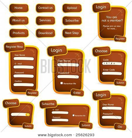 illustration of set of web form templates in trendy look on isolated background