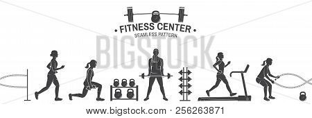 poster of Fitness Center Seamless Pattern Or Background. Vector Illustration. For Design Fitness Centers, Gyms