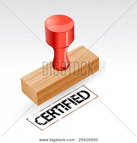 illustration of stamp with certified imprint on abstract background