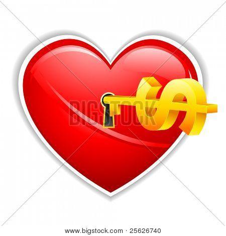 illustration of dollar key in heart shape lock