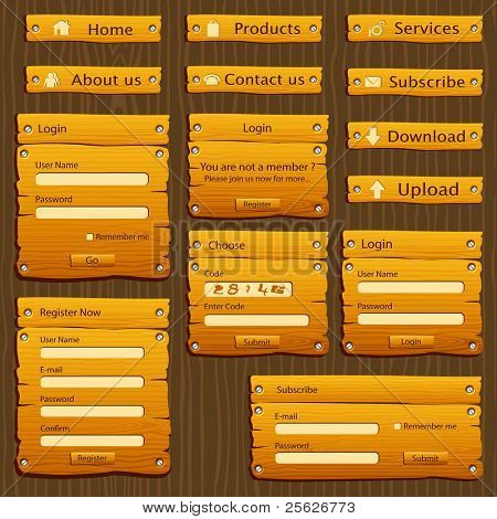 illustration of set of web form template in wooden style