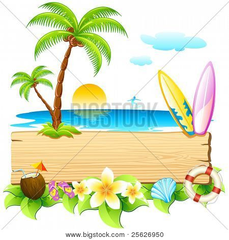 illustratie van surf board en palm tree op zee strand