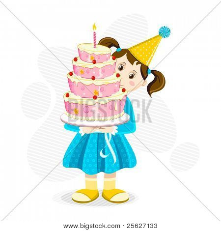 illustration of girl holding birthday cake on abstract background