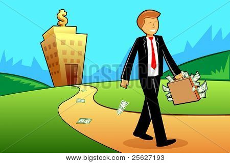 illustration of business man coming from bank building with briefcase full of note