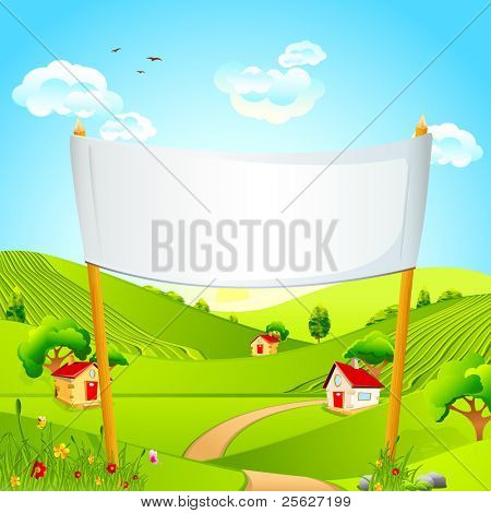 illustration of banner in natural landscape with hut