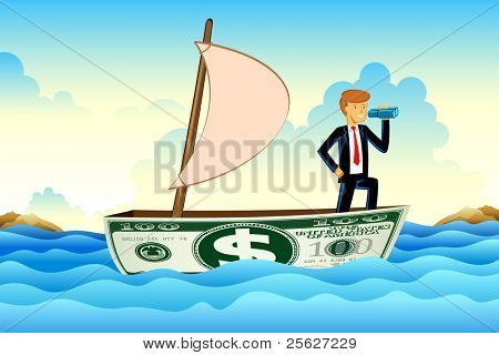 illustration of business man on dollar boat floating on sea