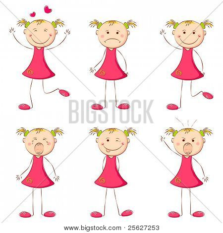 illustration of set of girl showing different expression