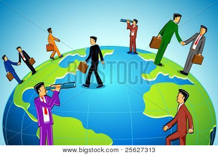illustration of people doing business standing around globe