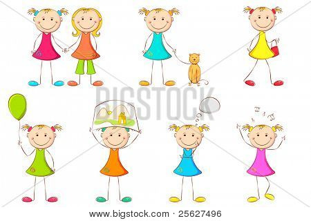 illustration of girl kid doing different activities on white background