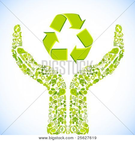 illustration of hand made of recycle symbol