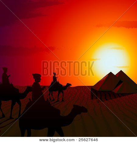 illustration of people riding on camel in sunset view of desert