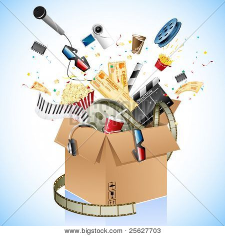 illustration of entertainment and cinema object popping out of carton box