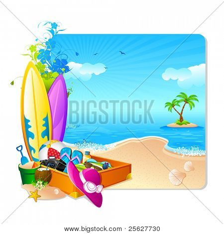 illustration of luggage with surfing board and hat on sea beach