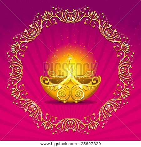 illustration of burning diwali  diya on floral background