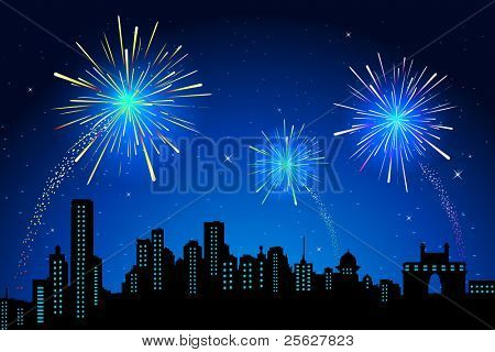 illustration of view of firework in sky on city scape