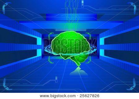 illustration of human brain on abstract technical background