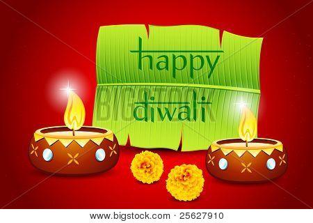 ilustração de diya ardente de diwali com árvore de banana para mensagem