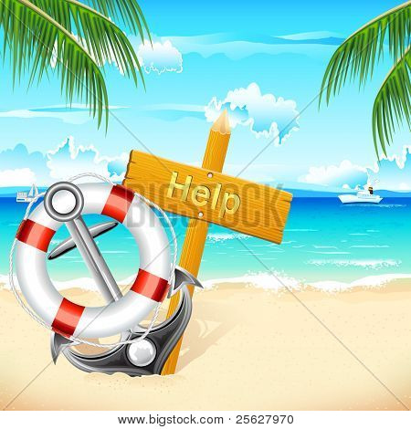 illustration of lifebouy and anchor with help board on sea beach