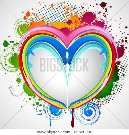 illustration of colorful heart with abstract grungy element