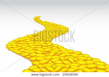 illustration of road made of gold coin on abstract background