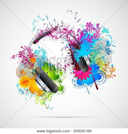 illustration of headphone with abstract grungy and floral element