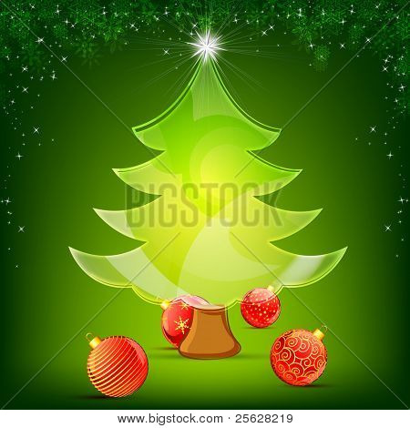illustration of glassy christmas tree with decorative ball on snowy background