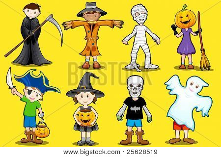 illustration of kids in different costume for halloween party