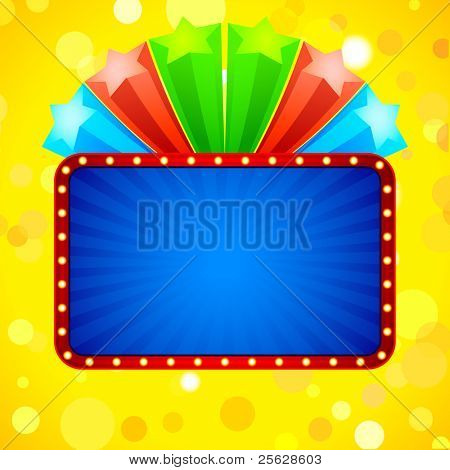 illustration of blast of colorful stars with blank template
