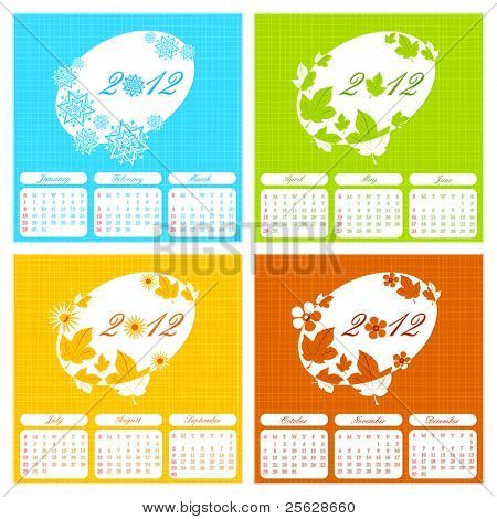 illustration of complete calendar for 2012 showing different season