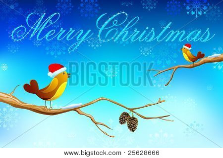 illustration of pair of love bird singing christmas song