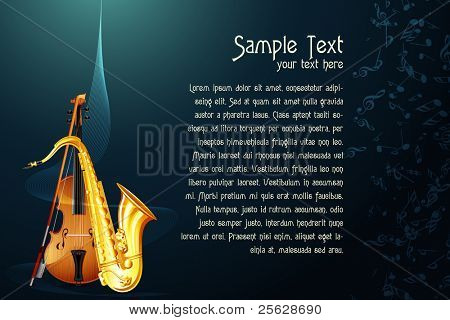 illustration of saxophone with violin in abstract musical background