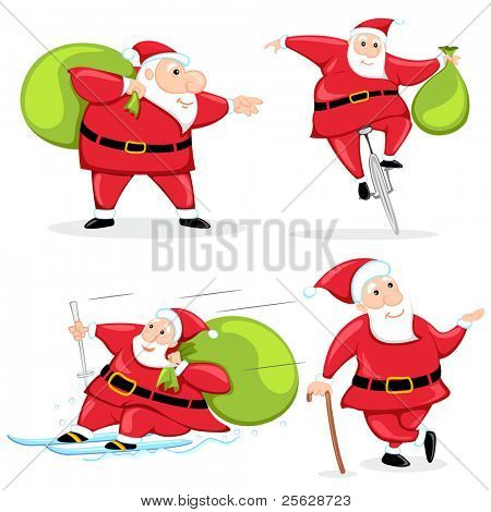 illustration of santa claus in different poses with christmas gift