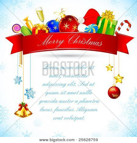 illustration of christmas goodies with ribbon and bell