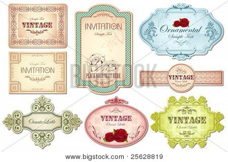 illustration of retro style sticker in different shape on white background
