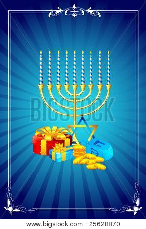 illustration of menorah candle with gift box for shabbat