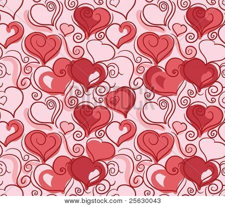 Romantic repeating wallpaper with hearts