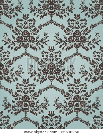 Damask seamless pattern in retro style with floral elements. Could be used as textile, wallpaper, wrapping paper, etc