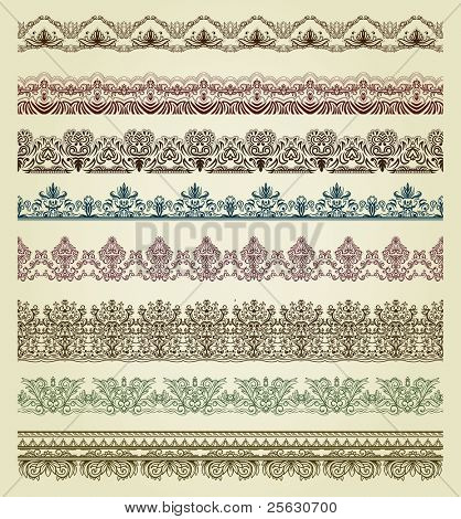 Set of vintage borders. Could be used as divider, frame, etc