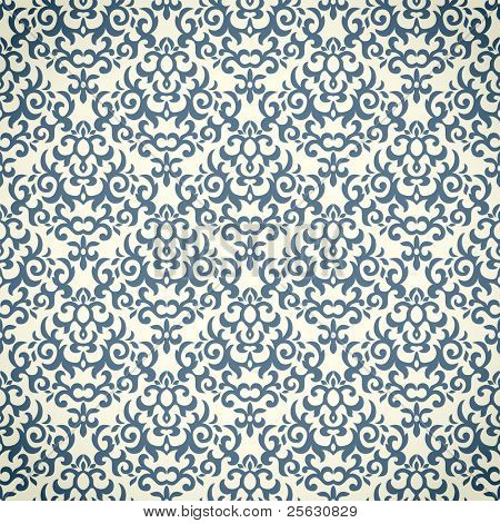 Damask seamless pattern on gradient background. Could be used as repeating wallpaper, textile, wrapping paper, background, etc