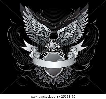 Wild Eagle Upon the Shield with a Stripe in Front  for Title On Black Background