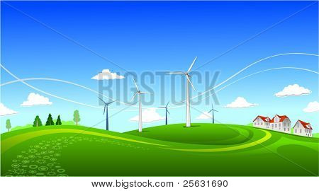 Summer Landscape with Windmills
