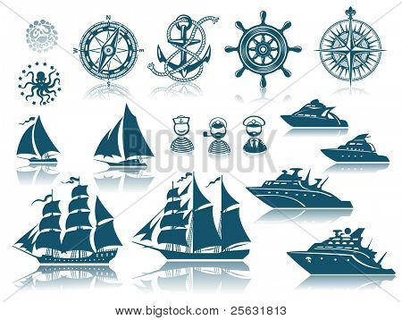 Compass and Sailing ships icon set