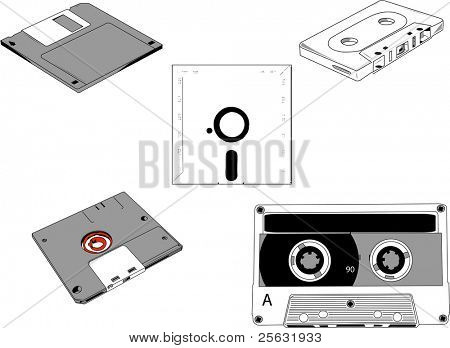 Set of old cassettes and floppy disks 5.1