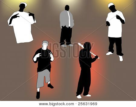 Set of gangsta 5 poses and attitudes. Ideal for street and/or hip hop oriented design, files in eps format compatible illustrator 8.